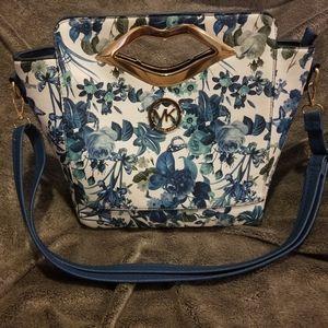 Blue Floral handbag (detachable strap)